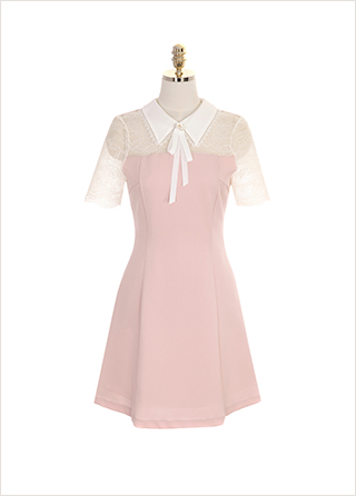 op7243 리본 브로치 세트 구성의 레이스 포인트 카라 원피스 dress