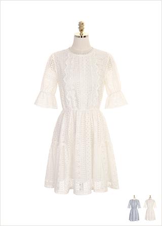 op7244 허리 밴딩 디테일의 레이스 플레어 원피스 dress