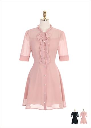 op7245 시스루한 쉬폰 패브릭의 진주 단추와 프릴넥 원피스 dress