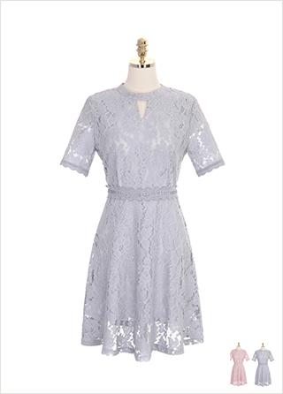 op7246 키홀 네크라인 포인트의 플라워 레이스 원피스 dress