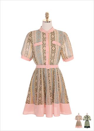 op7274 에스닉 패턴과 벨트 세트 구성의 배색 포인트 플레어 원피스 dress