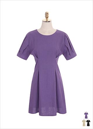 op7277 퍼프 소매와 허리 핀턱 라인의 린넨 코튼 혼방 원피스 dress