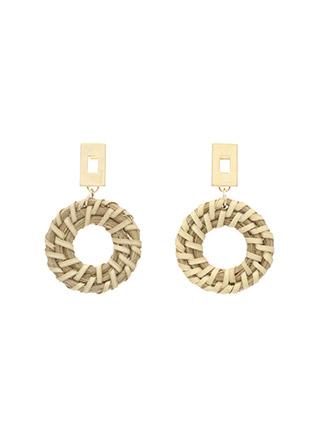 ac3990 스퀘어 골드바 장식의 라탄 라운드 빅 이어링 earring