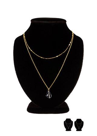 ac3998 영롱보스 투명스톤 다이아 체인 두줄 네크리스 necklace