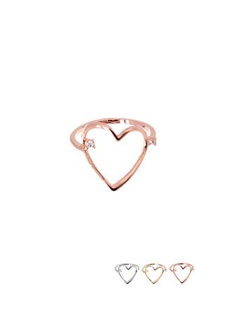 ac4000 큐빅 포인트의 하트 쉐입 포인트링 ring