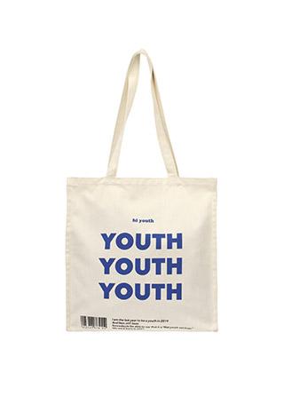 bg779 청량한 블루 레터링 포인트의 데일리 코튼 에코백 bag