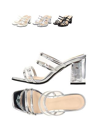 sh1516 PVC 스트랩 컬러 포인트의 오픈토 블로퍼 미들힐 shoes