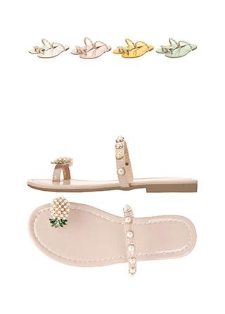 sh1508 파인애플 비즈장식 포인트의 캐쥬얼 플리플랍 쪼리 shoes