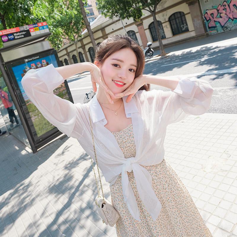 bs4446 쉬어한 소재감으로 여리하게 입기 좋은 시스루 썸머 카라 블라우스 blouse