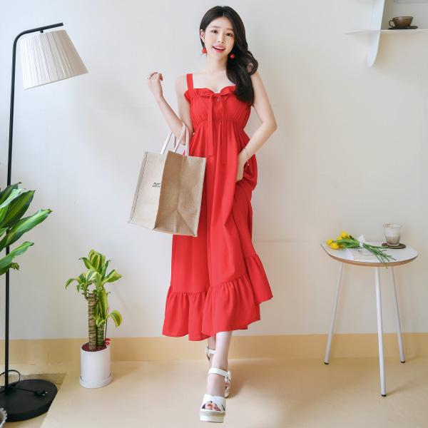 op7290 화사함을 선사할 컬러포인트 리본디테일 롱 나시 밴딩원피스 dress