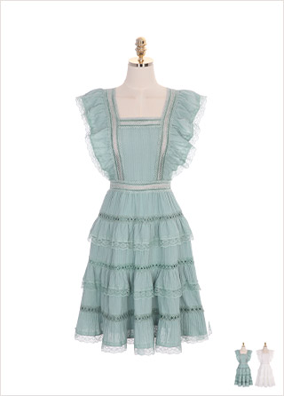 op7304 백 리본과 캉캉 레이스 장식의 스퀘어 코튼 원피스 dress