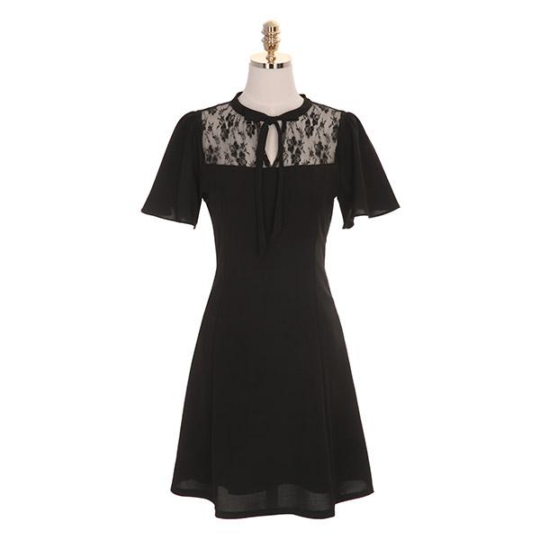 op7320 나팔 소매와 레이스 포인트의 리본타이 플레어 원피스 dress
