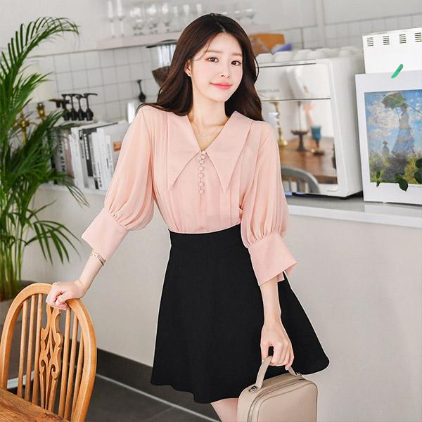 bs4465 드라마 속 여주인공룩인 콩단추디테일의 카라포인트 쉬폰 블라우스 blouse