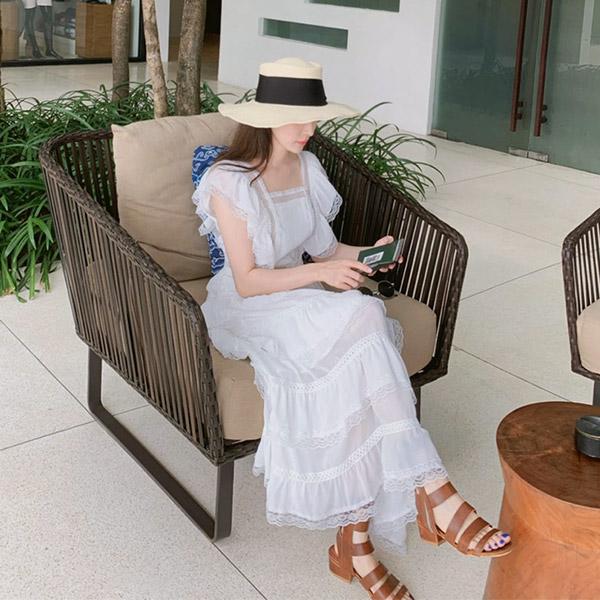 op7337 휴양지에서 예쁨 가득 선사할 시스루라인의 백리본 포인트 캉캉 롱 원피스 dress