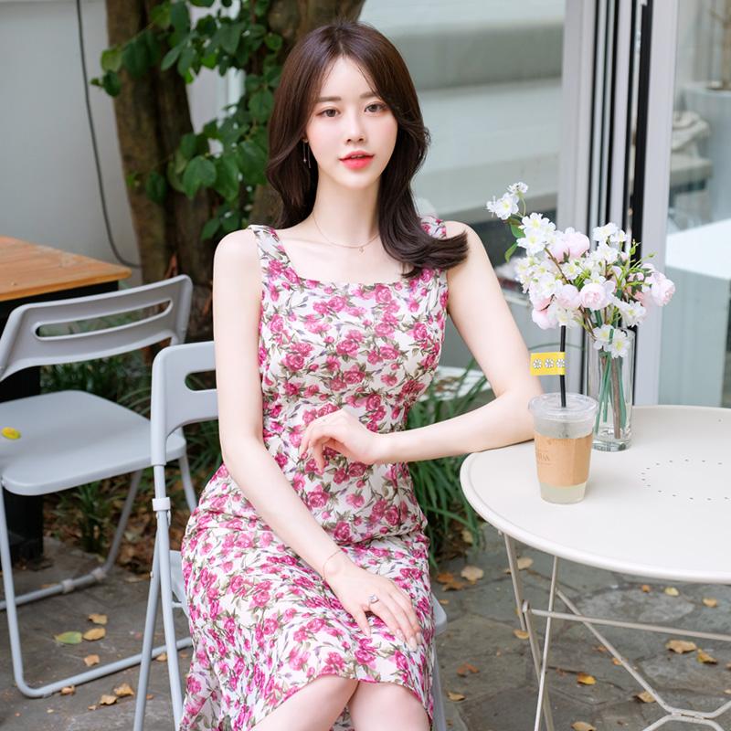 op7332 화사함이 가득한 선명한 장미패턴 민소매 원피스 dress