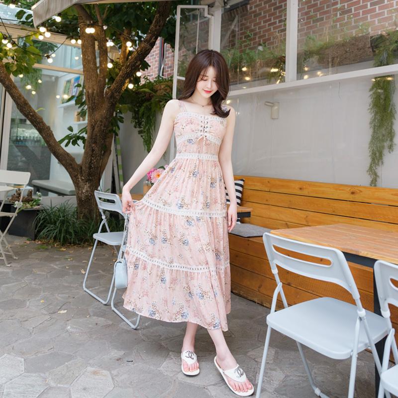 op7335(A) 코르셋 디테일로 글램하고 레이스장식이 로맨틱한 롱 원피스 dress