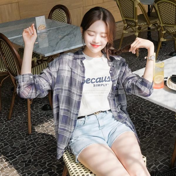 bs4474 가볍고 부드러운 거즈코튼 소재감의 데일리 시스루 썸머 체크 셔츠 blouse