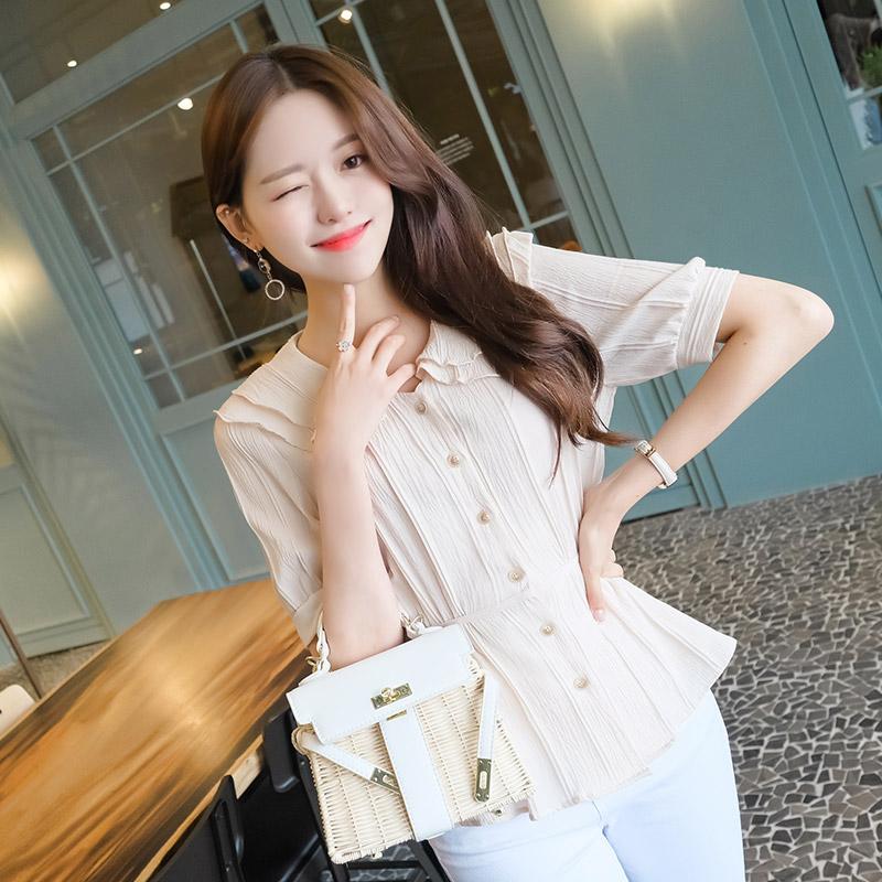 bs4471 러블리한 웨이브 프릴카라 디테일의 라인포인트 페플럼 리본 블라우스 blouse