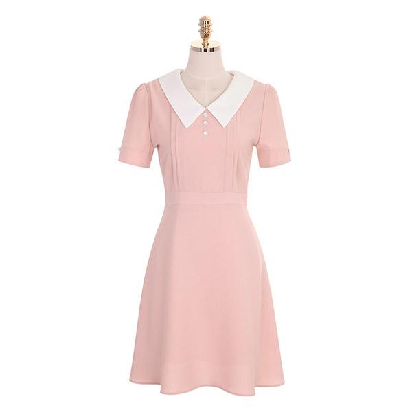 op7367 배색 카라와 핀턱 라인의 플레어 반팔 원피스 dress