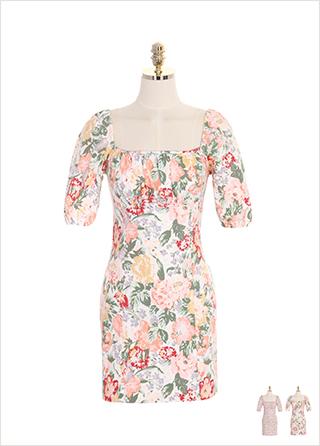 op7372 큰 꽃과 작은 꽃 패턴 옵션 선택 가능한 스퀘어 H라인 오프숄더 원피스  dress