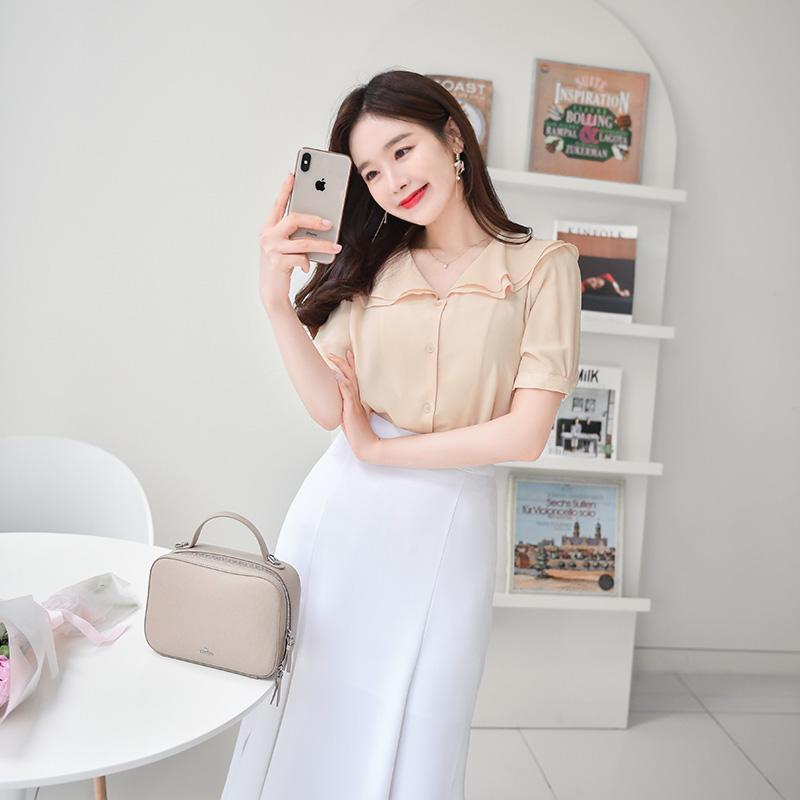 bs4473 사랑스러운 꽃잎 두장카라 퍼프소매 쉬폰 블라우스 blouse