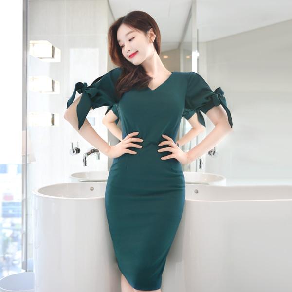 op7361 아름다운 트임 리본 소매의 V넥 퍼펙트 슬림 미디 원피스 dress