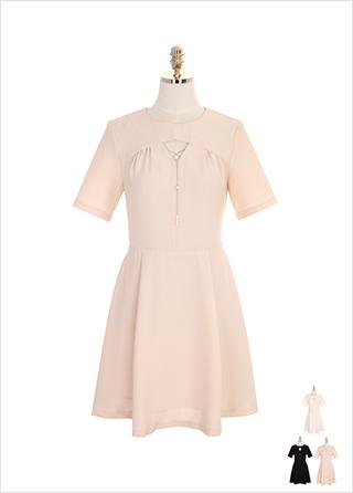 op7379 진주 네크리스 장식의 홀터 포인트 플레어 원피스 dress