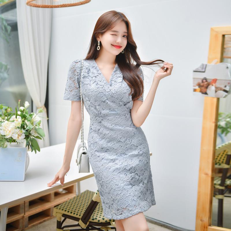 op7392 고급스러움이 남다른 플라워 레이스 패턴의 어깨셔링 슬림 랩 원피스  dress