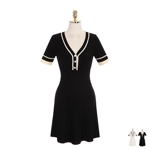 op7383 진주 단추와 배색 디자인의 골지 니트 플레어 원피스 dress