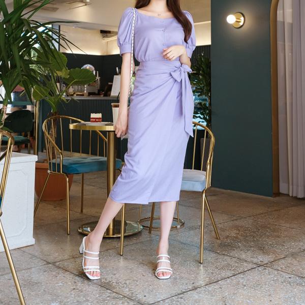 sk3587 세트로 입으면 더 예쁜 러블리 핀턱 리본 랩스커트 skirt