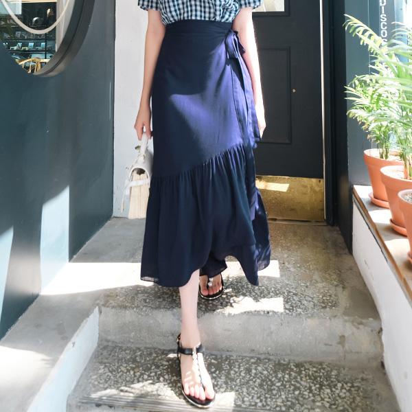 sk3588 여름 내내 입고 싶은 밑단 프릴 랩디자인 롱스커트 skirt