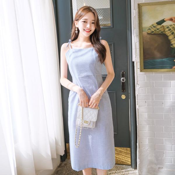 op7406 러블리한 미니 깅엄체크 패턴의 리본스트랩 슬리브리스 미디 원피스 dress