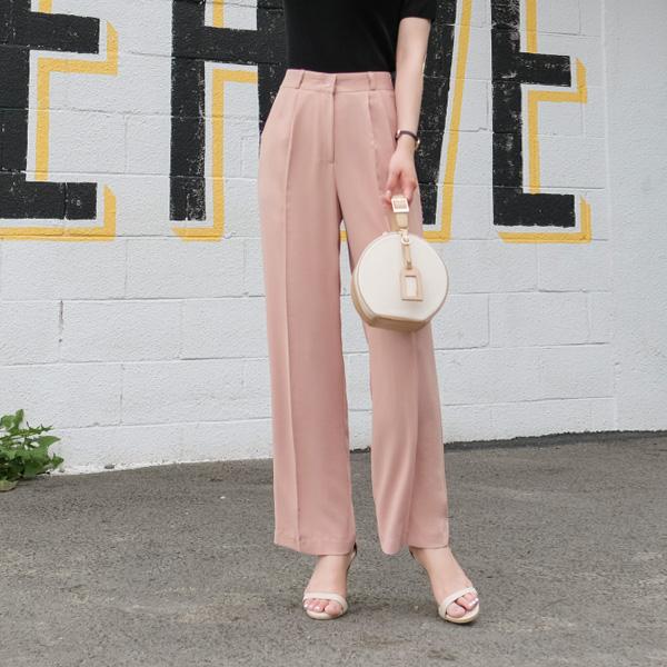ps1834 하늘하늘 시원한 감촉의 세련된 반하이웨이스트 와이드핏 핀턱 포인트 슬랙스진 pants