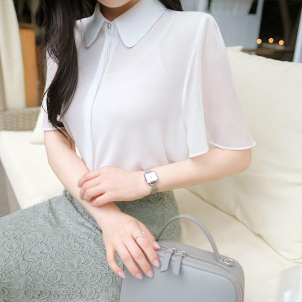 bs4479 시스루 소매포인트의 둥근카라넥 진주장식 반팔 쉬폰블라우스 blouse