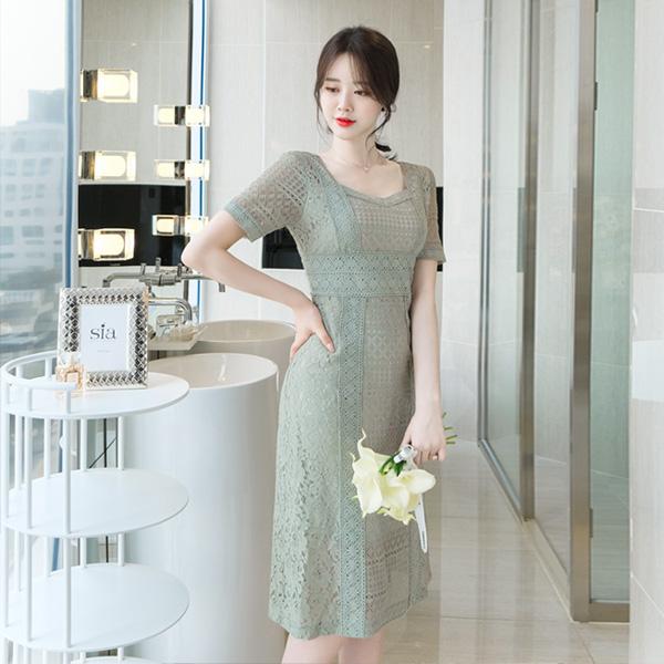 op7407 하이퀄리티 레이스 디자인의 로맨틱 A라인 원피스 dress