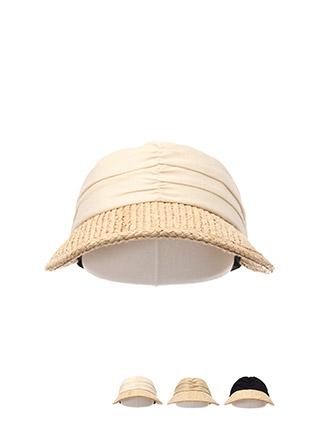 ac4081 셔링 배색이 매력적인 시원한 라탄 패브릭의 오픈 밴딩 썬캡 모자 hat