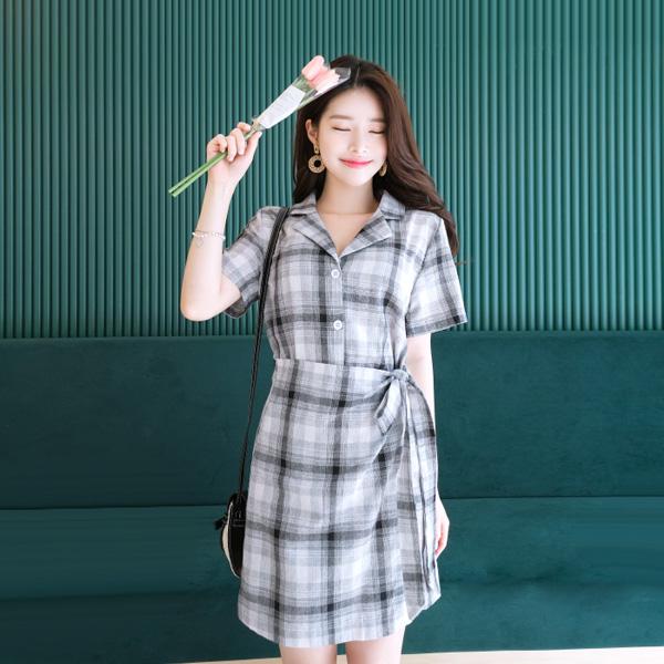 op7415 오픈카라 브이넥 디테일 체크패턴 랩 셔츠원피스 dress