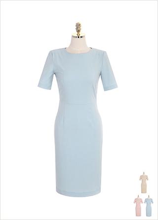 op7428 어깨 패드 디테일의 H라인 오피스 미디 원피스 dress