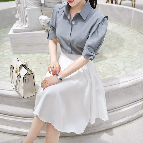 bs4501 우아한 프린세스룩을 선사할 입체 퍼프 리본 소매 S라인 슬림 블라우스 blouse