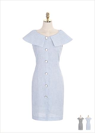 op7448 와이드 러플 카라 디자인의 버튼 장식 민소매 원피스 dress