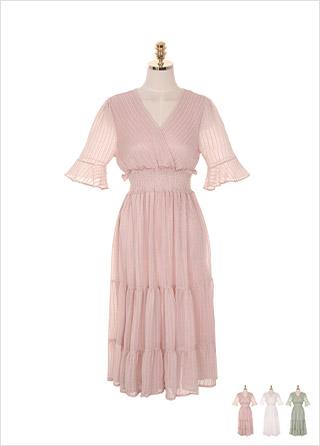 op7463 공주같은 실루엣의 랩 스모크 밴딩 플레어 롱 원피스 dress