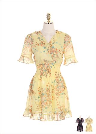 op7472 러플과 스모크 밴딩 디테일의 플라워 쉬폰 플레어 원피스 dress