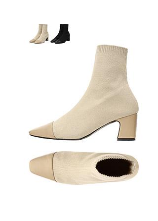 sh1568 멋스러운 앞코 배색 포인트의 쫀쫀한 니트 앵클삭스 부츠 shoes