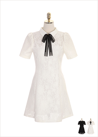 op7506 리본 브로치 세트 구성의 레이스 카라 원피스 dress