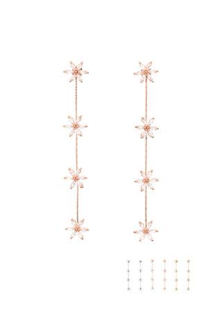 ac4090 4개의 플라워 포인트로 완성된 롱 드롭 이어링 earring