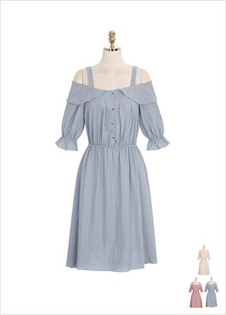 op7508 허리밴딩과 오프숄더 디자인의 린넨 코튼 원피스 dress