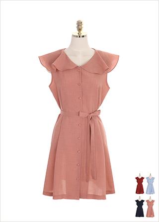 op7510 리본 스트랩 구성의 러플 와이드 카라 박시 원피스 dress