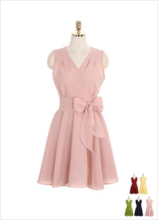 op7509 리본 스트랩 구성의 핀턱 랩 디자인 플레어 민소매 원피스 dress