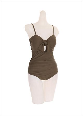 bk066 귀여운 리본과 트임 포인트의 셔링 모노키니 bikini