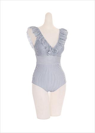 bk068 스트라이프 패턴의 프릴 브이넥 모노키니 bikini